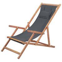 vidaXL Zložljiv stol za na plažo blago in lesen okvir sive barve