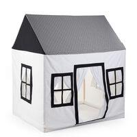 CHILDHOME Otroška hišica 125x95x145 cm platno bela in črna