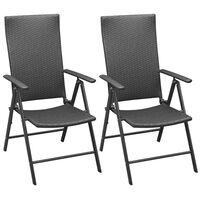 vidaXL Vrtni stoli 2 kosa poli ratan črne barve