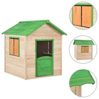 vidaXL Otroška igralna hišica iz lesa jelke zelena