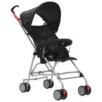 vidaXL Zložljiv otroški voziček jeklen črn