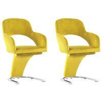 vidaXL Jedilni stoli 2 kosa rumen žamet