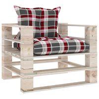 vidaXL Vrtni kavč iz palet z rdečimi karo blazinami borovina