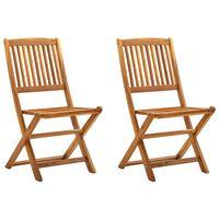vidaXL Zložljivi zunanji stoli 2 kosa trden akacijev les