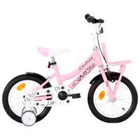 """vidaXL Otroško kolo s prednjim prtljažnikom 14"""" belo in roza"""