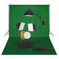 vidaXL Foto studijski komplet s softboxi, ozadjem in odbojnikom