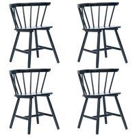 vidaXL Jedilni stoli 4 kosi črni trdni kavčukovec