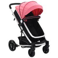 vidaXL Otroški voziček 2 v 1 roza in črn aluminij