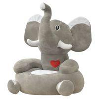 vidaXL Plišasti otroški stol slon sive barve