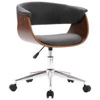 vidaXL Vrtljiv pisarniški stol siv ukrivljen les in blago