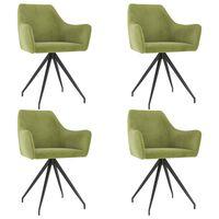 vidaXL Jedilni stoli 4 kosi svetlo zelen žamet