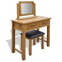 vidaXL Toaletna mizica s stolčkom trdna hrastovina