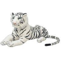 vidaXL Plišasta Igrača Tiger Bele Barve XXL