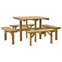 vidaXL Piknik miza 4-stranska 172x172x73 cm impregnirana borovina