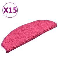 vidaXL Preproge za stopnice 15 kosov roza 65x21x4 cm