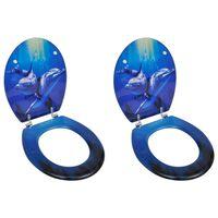 vidaXL Deska za WC školjko s pokrovom 2 kosa mediapan delfin