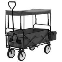 vidaXL Zložljiv ročni voziček s streho jeklen siv