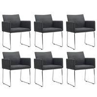 vidaXL Jedilni stoli 6 kosov temno sivo blago
