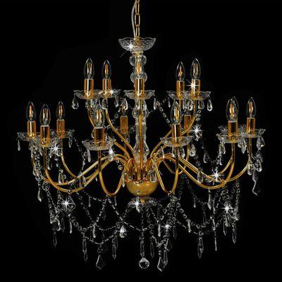 vidaXL Lestenec 2-nadstropni zlat 15 x E14 žarnice