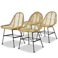 vidaXL Jedilni stoli 4 kosi naravni ratan