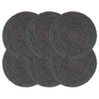vidaXL Pogrinjki 6 kosov temno sivi 38 cm okrogli iz jute