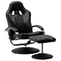 vidaXL Nastavljiv športni stol s stolčkom za noge sivo umetno usnje