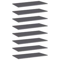 vidaXL Dodatne police za omaro 8 kosov visok sijaj sive 80x40x1,5 cm