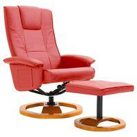 vidaXL Vrtljiv TV fotelj s stolčkom za noge umetno usnje rdeč