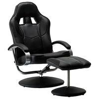 vidaXL Nastavljiv športni stol s stolčkom za noge črno umetno usnje