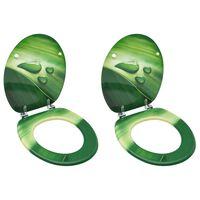 vidaXL Deska za WC školjko s pokrovom 2 kosa mediapan zelena kapljica