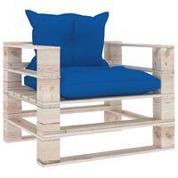 vidaXL Vrtni kavč iz palet s kraljevsko modrimi blazinami borovina