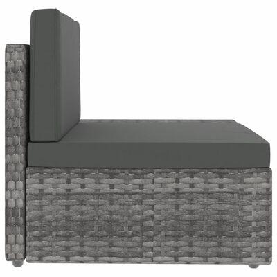 vidaXL Sekcijski kavč trosed poli ratan siv