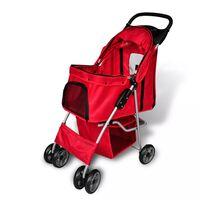 vidaXL Voziček za psa rdeče barve