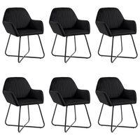 vidaXL Jedilni stoli 6 kosov črn žamet