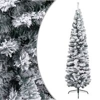 vidaXL Ozka umetna novoletna jelka s snegom zelena 180 cm PVC