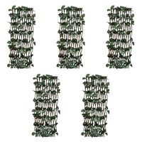 vidaXL Mrežasta ograja iz vrbe 5 kosov z umetnimi listi 180x120 cm