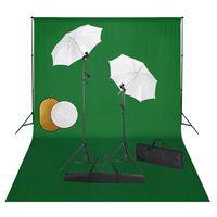 vidaXL Studijski komplet s svetilkami, dežniki, ozadjem in odbojnikom