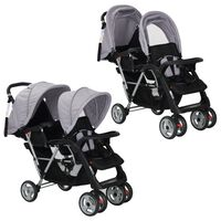 vidaXL Dvojni otroški voziček jeklen sive in črne barve