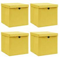 vidaXL Škatle za shranjevanje s pokrovi 4 kosi rumene 32x32x32cm blago