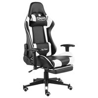 vidaXL Swivel Gaming Chair with Footrest White PVC