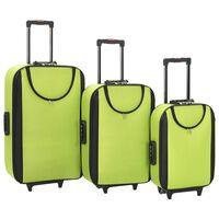 vidaXL Mehki potovalni kovčki 3 kosi zeleno oksford blago