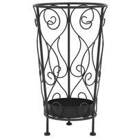 vidaXL Stojalo za dežnike starinski stil kovinsko 26x46 cm črne barve
