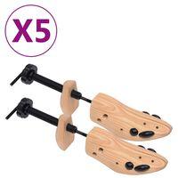 vidaXL Kopita za čevlje 5 parov velikost 36-40 trdna borovina