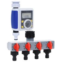 vidaXL Digitalni vrtni časovnik za zalivanje enojni z distributorjem