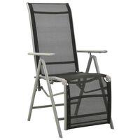 vidaXL Nastavljiv vrtni stol tekstil in aluminij srebrn