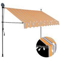 vidaXL Ročno zložljiva tenda z LED lučmi 250 cm rumena in modra
