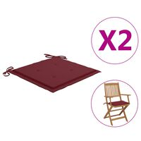 vidaXL Blazine za vrtne stole 2 kosa vinsko rdeče 40x40x4 cm blago
