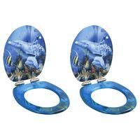 vidaXL Deske za WC školjko s počasnim zapiranjem 2 kosa MDF delfini