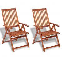 vidaXL Zložljivi vrtni stoli 2 kosa trden akacijev les rjave barve