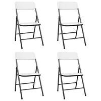 vidaXL Zložljivi vrtni stoli 4 kosi HDPE beli